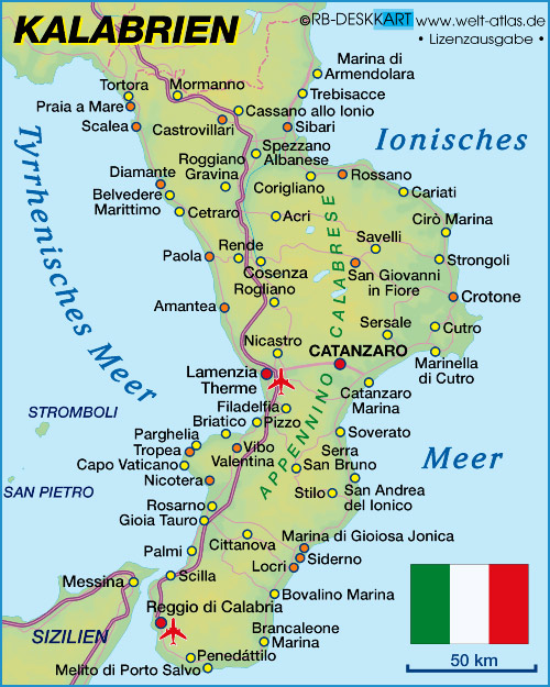 Map of Calabria